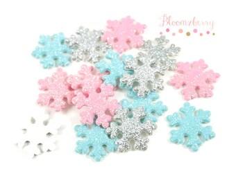 "1""  Glittery Snow Flake Padded/Appliques - White, Blue and Silver - Snow Flake Padded/Appliques -Headband/Hair Bow/Hair Accessories Supplies"