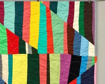 Modern Improv Striped Baby Quilt