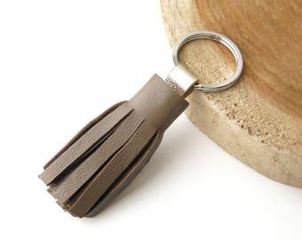 Keychain, Pompon, Leather, Beige