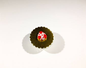 Cake Saint Honoré red miniature polymer clay