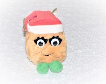 1991 Del Monte Christmas Yumkins Pineapple with Santa Claus Hat Plush Ornament