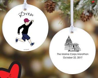 Washington DC Marathon, Personalized Runner Ornament, Custom Christmas Marathon Decorations, Runner Christmas Tree Decorations, Home Decor