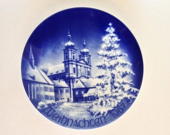 Vintage Bareuther Christmas Plate 1967, Blue and White Collector Plate, Beautiful Wall Plate, Bavarian China, Excellent Condition in Box