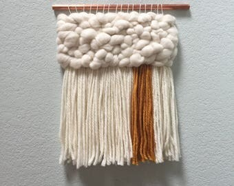 DROP | Large Roving Wall Hanging in White and Mustard