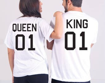 King and Queen Shirt, Anniversary Date, Year Couples T-shirt Set, UNISEX - T-Shirt. Long Length Tee. Black, White, Grey