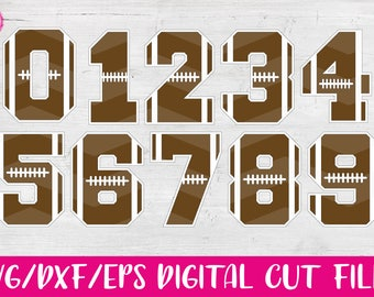 Football Numbers, SVG, DXF, EPS, Sports, Cut Files, Winter, Varsity, Vector, Vinyl, Silhouette, Cricut