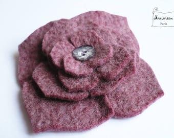 large hydrangea flower hair clip made of felt rose