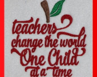 Teachers Change the World  Digitized Machine Embroidery Design School