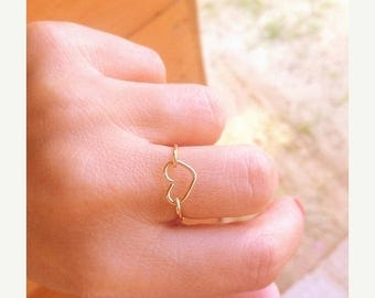 SALE - Heart ring - Heart ring gold - love ring - Delicate heart ring  - Tiny gold heart ring - 14k gold filled ring