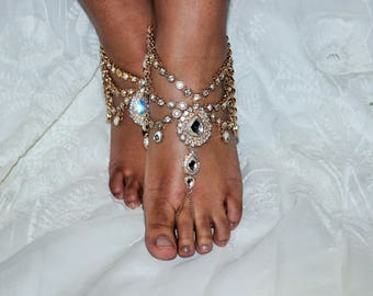 Gold Beach Barefoot Sandals Crystal Rhinestone Crystal Barefoot Sandal Foot Jewelry Wedding Rhinestone Jewelry Bridesmaid Gift