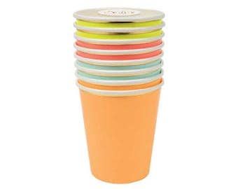 Neon Party Cups - gold neon 80s birthday childrens party