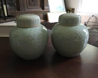 Vintage Chinese Celadon Lotus Design Porcelain Ginger Jars - Pair