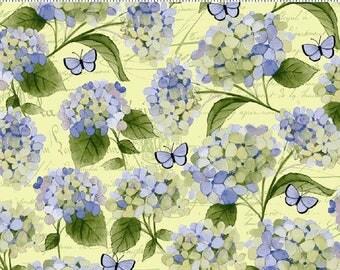 HEAVENLY HYDRANGEAS designed by Sue Zipkin for Clothworks - bty - #Y2256-58