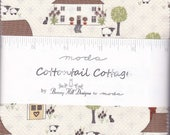 Cottontail Cottage - Charm Pack - 5 inch Squares - Bunny Fabric - Gingham Fabric - Bunny Hill Designs