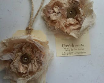 fabric  flower brooch shabby chic with vintage button in creams and browns textile brooch gift boho look festival jewellery