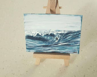 Aceo art trading card  original surfer on wave collectable miniature acrylic painting