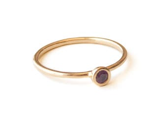 Thin Gold Ring, Amethyst Ring, February Birthstone Ring, Dainty Ring, Stacking Ring, Personalized Ring, Gold Filled Ring, Mothers Ring