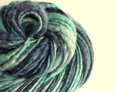 Blue thick handspun knitting yarn, handpainted chunky yarn, blue faced leicester fibre, turquoise and denim blues, chunky wool