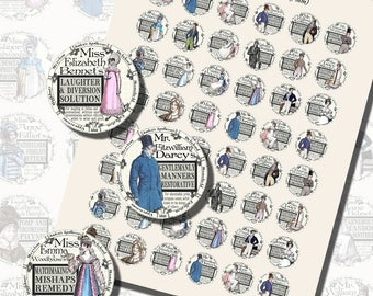 Fantasy Potion Labels -- Jane Austen Characters, ONE INCH CIRCLES (25 mm), with 1.25 inch circles and 1.5 inch circles also included