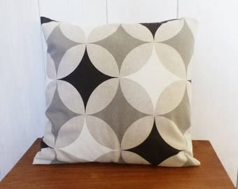 Cushion cover 40 x 40 cm fabric geometric gray, dark and Black diamonds and circles