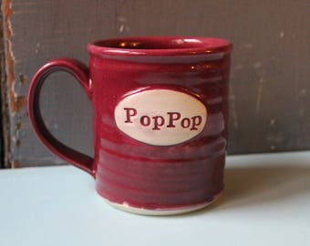 Custom Name Mug, Cranberry, Pop Pop, Gramps, personalized, present, gift, Christmas, Hannukah, Made To Order
