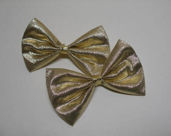 Festive Holiday Gold Tuxedo Style Bows Petite Little Pig Tail Pair Set