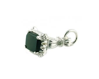Sterling Silver & Onyx Seal Fob Charm For Bracelets