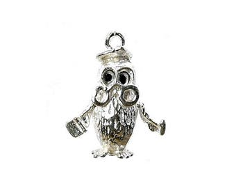Sterling Silver Moving The Wise Old Owl Charm For Bracelets