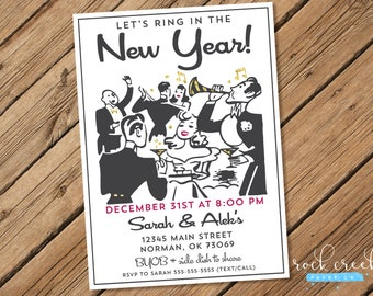 Retro New Year's Eve Invitation, New Year's Party Invitation, 1940s Party, 1930s Party, New Years Eve Party, Printable Party Invitation