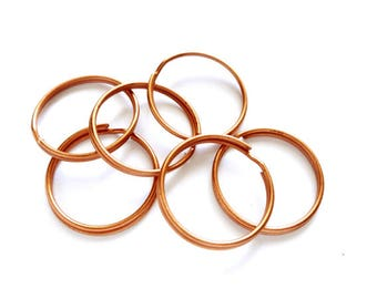 6 Copper Toned Split Loop Open Jump/Key Rings 25mm - 10-C-25DL