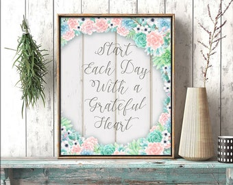 Inspirational Wall Art | Do It Yourself Printable | Printable Wall Art | Start Each Day With A Grateful Heart | Succulents Wreath | Wall Art