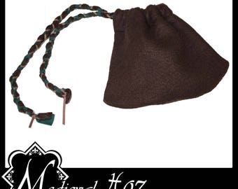 Nice Quality Brown Felt Bag/ Coin Pouch with platted draw string detail. LARP Medieval Costume Gothic Alternative NEW!