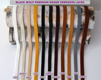 """Deerskin Premium Grade Leather Lace 3/8 """" (10mm) Wide x 40"""" Long   All Styles, Deerskin Lace, Deerskin Leather, Deerskin,Leather, Crafts"""