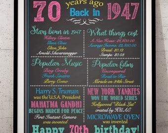 70th Birthday Sign,70th Birthday For Her, 1947 Birthday Sign, Back in 1947, Happy 70th Birthday, 70th Birthday Poster, 70 Birthday for Her