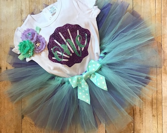 Mermaid Birthday Bodysuit or Shirt, Tutu, and Headband