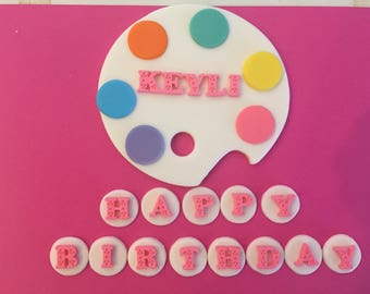 Art Theme Fondant Art Palette Cake Topper set