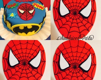 Spider Spiderman Superhero Inspired  Fondant cupcake toppers