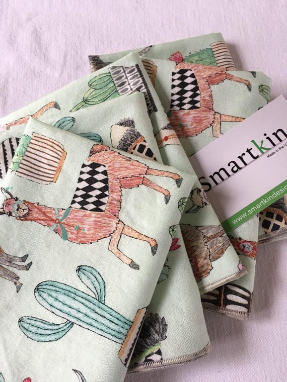 Beautiful Tossed Llama All Cotton Cloth Napkin 12x15 in Size by Smartkin