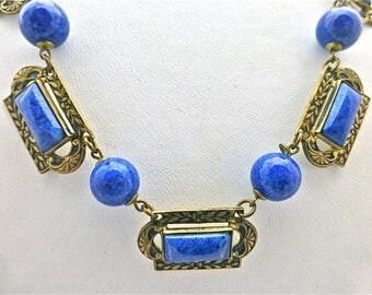 """Art Deco """"Lapis Lazuli"""" Czech Necklace"""