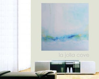 La Jolla Cove Original Modern Abstract Very Large Big Art Painting Wall Hanging Water Landscape Blue Yellow Green White Texture Home