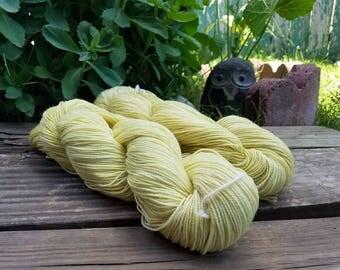 "Yellow Sock Yarn - naturally dyed - ""Sunlight"" - superwash wool and nylon 100g 357 yards"