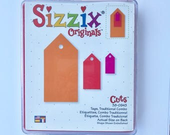 Traditional Combo Tag Dies, 3 Size Tag Sizzix Originals Red Die #38-0943