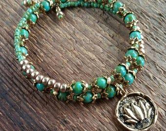 Lotus Charm Bracelet, Wrap Bracelet, Bohemian Jewelry, Memory Bracelet, Beaded Bracelet, Boho Bracelet, Layering Bracelet
