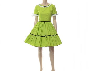 Vintage Square Dance Dress 60s 1960s 70s 1970s Lime Green with Lace Western Full Circle Skirt Country Prairie Rockabilly Dress / Small