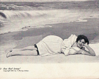"1906 Bathing Beauty antique postcard – ""See that hump"" woman on beach in bathing suit"