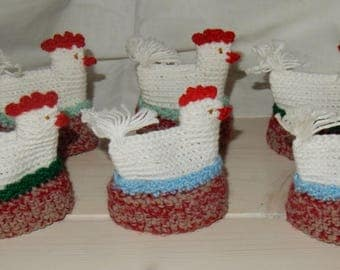 Egg warmers from Sweden- set of 6  hand crocheted egg warmers - 1960s -unused