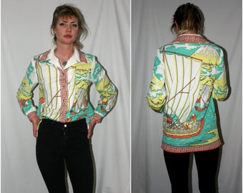 70s Psychedelic Retro Womens Blouse. Vintage Asian Nautical Disco Shirt. Hippie Boho Polyester Trippy Womens All Over Print Pastel Button Up