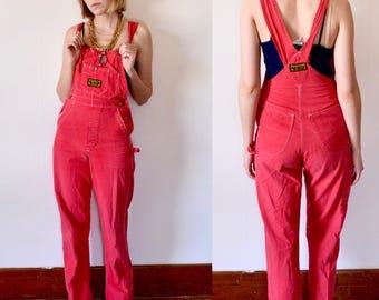 Vintage Red Overalls/ Womens Overalls/Denim Overalls/90s Overalls