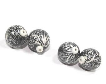 CIJ SALE Polymer Clay  round beads in Black, White and Greys. Unique pattern, Set of 4