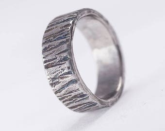 Steel bark WEDDING band, Womens or Mens hammered band, HANDMADE simple Stainless steel wedding band, band for him, for her - Wood dark